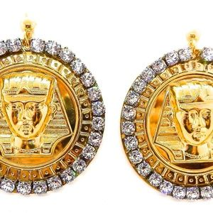 EGYPTIAN GOLD KING TUT MOONDUST MEDALLION EARRINGS